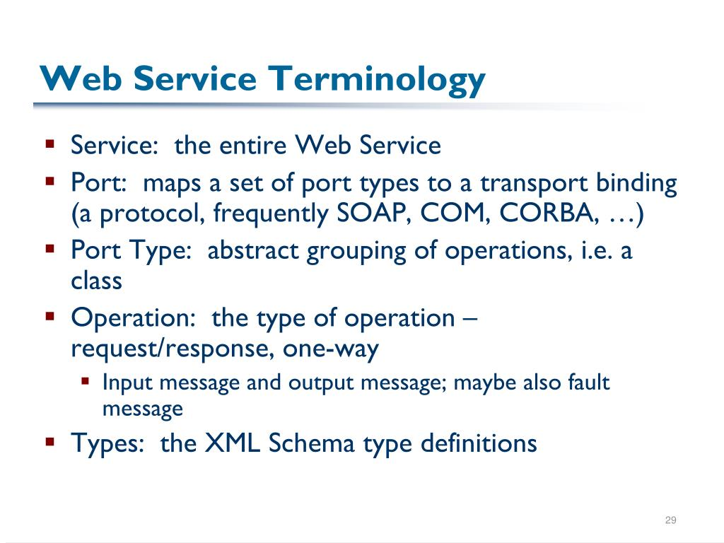 Web Service Terminology