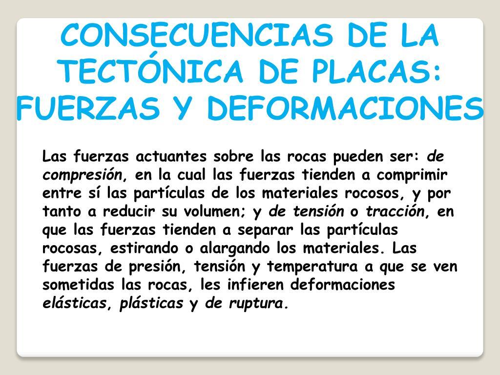 CONSECUENCIAS DE LA TECTÓNICA DE PLACAS: FUERZAS Y DEFORMACIONES