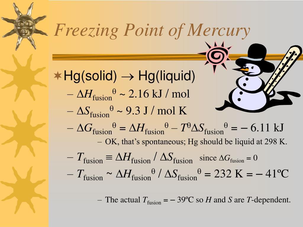 Freezing Point of Mercury
