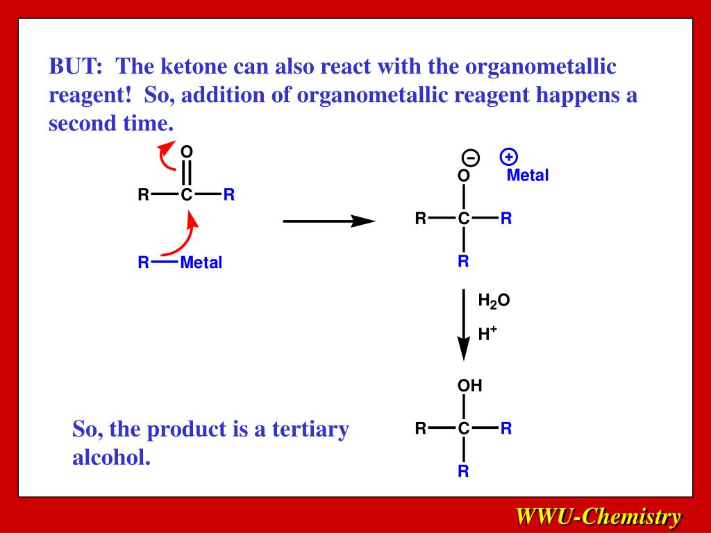 BUT:  The ketone can also react with the organometallic reagent!  So, addition of organometallic reagent happens a second time.