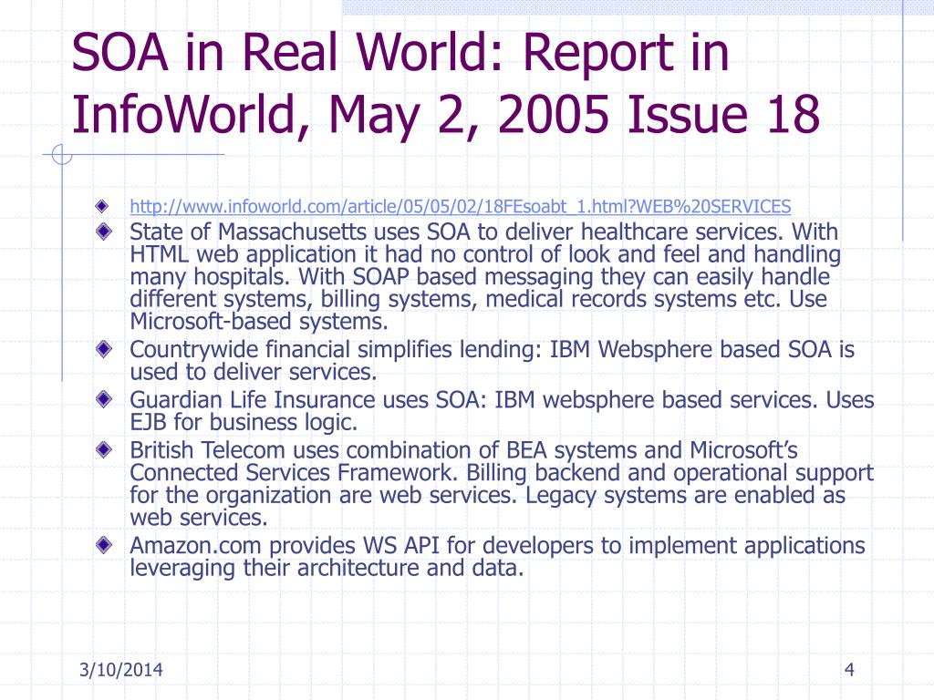 SOA in Real World: Report in InfoWorld, May 2, 2005 Issue 18