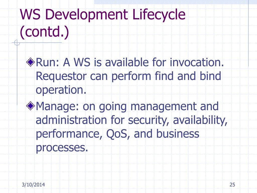 WS Development Lifecycle (contd.)