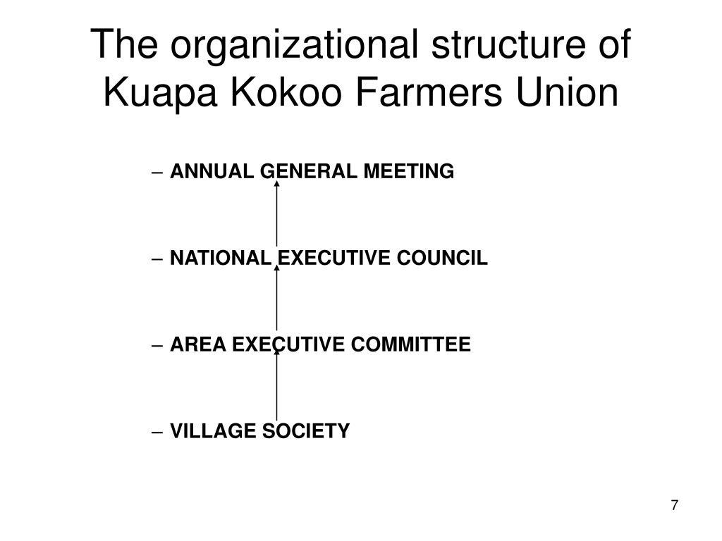 The organizational structure of Kuapa Kokoo Farmers Union