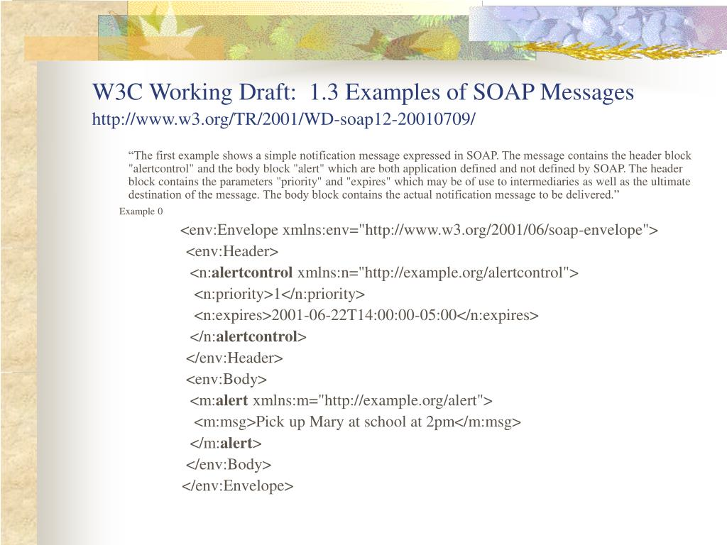 W3C Working Draft:  1.3 Examples of SOAP Messages