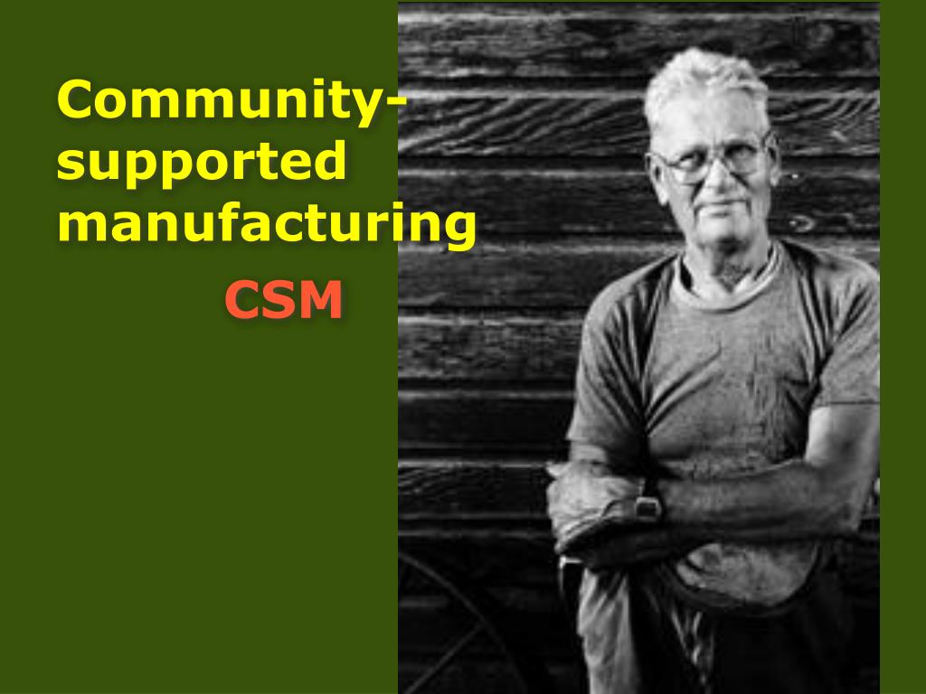 Community-supported manufacturing