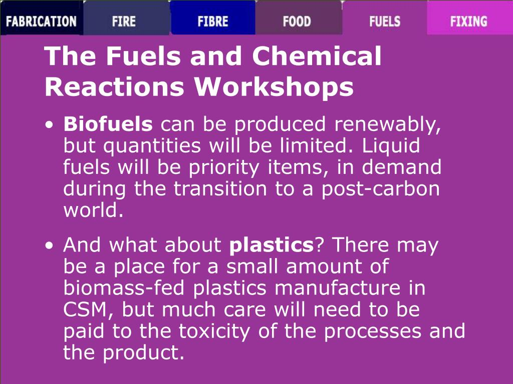 The Fuels and Chemical Reactions Workshops
