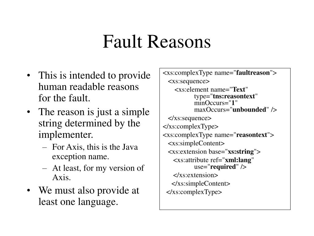 This is intended to provide human readable reasons for the fault.