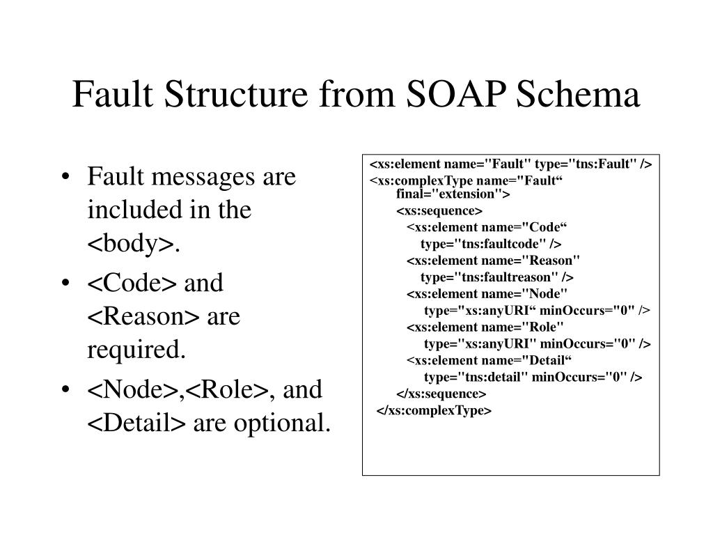 Fault messages are included in the <body>.