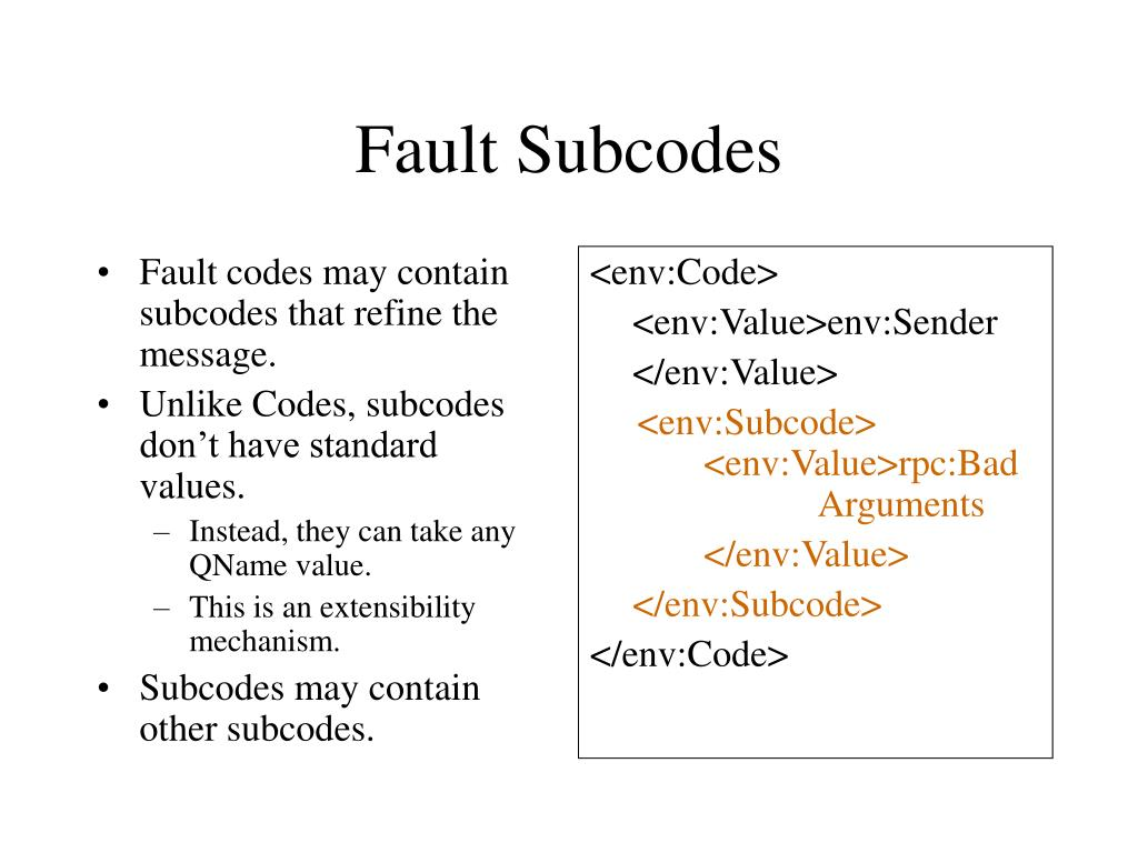 Fault codes may contain subcodes that refine the message.