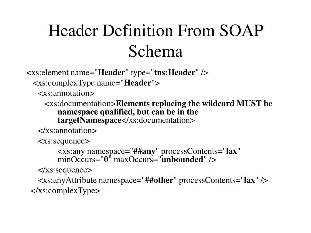 Header Definition From SOAP Schema