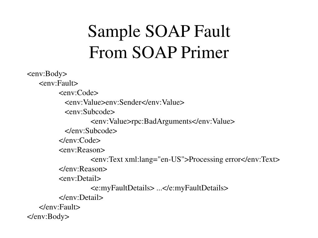 Sample SOAP Fault