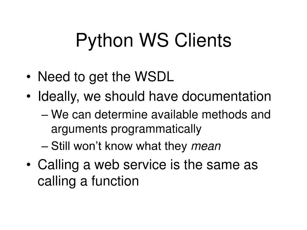 Python WS Clients