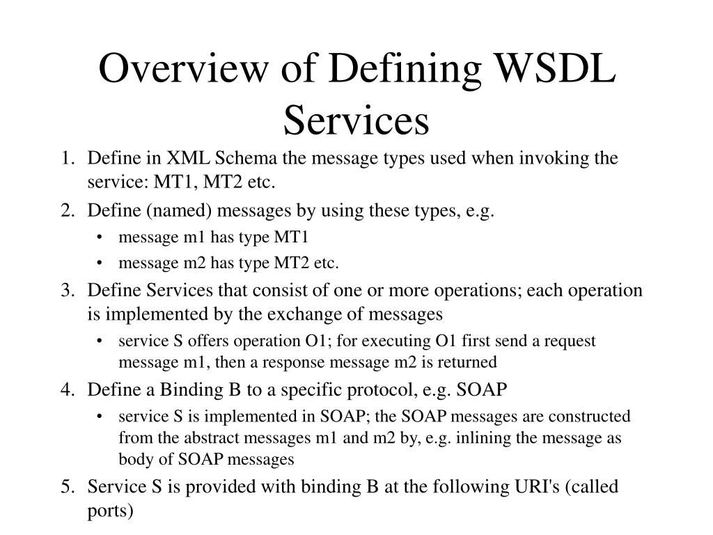 Overview of Defining WSDL Services