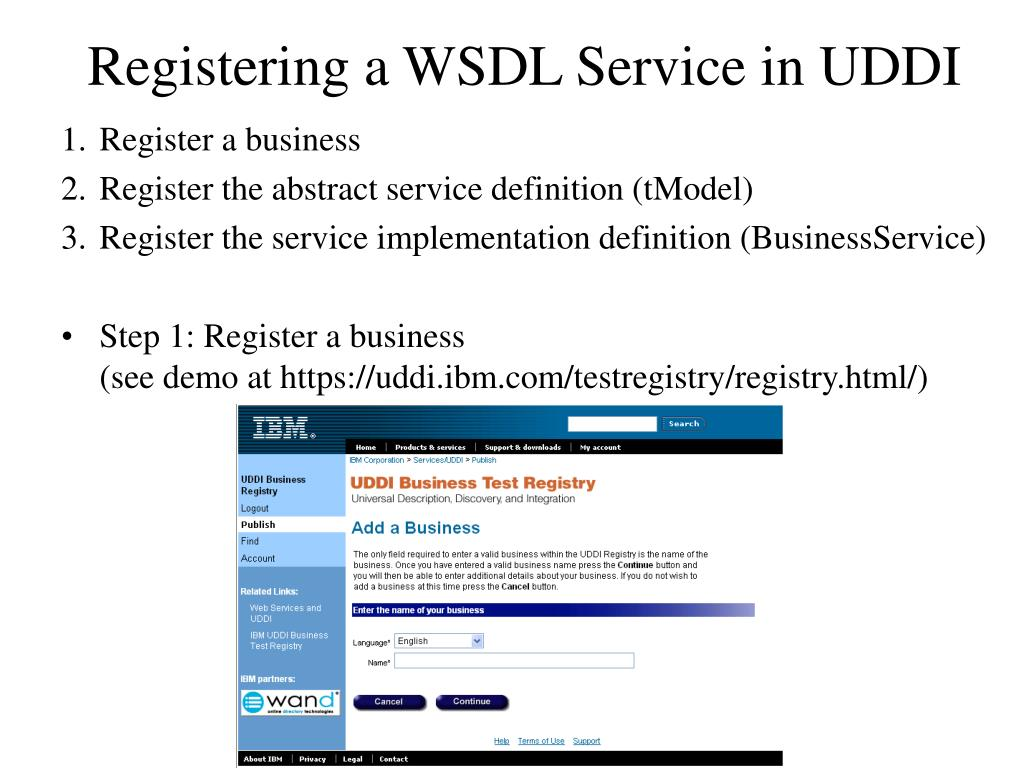 Registering a WSDL Service in UDDI