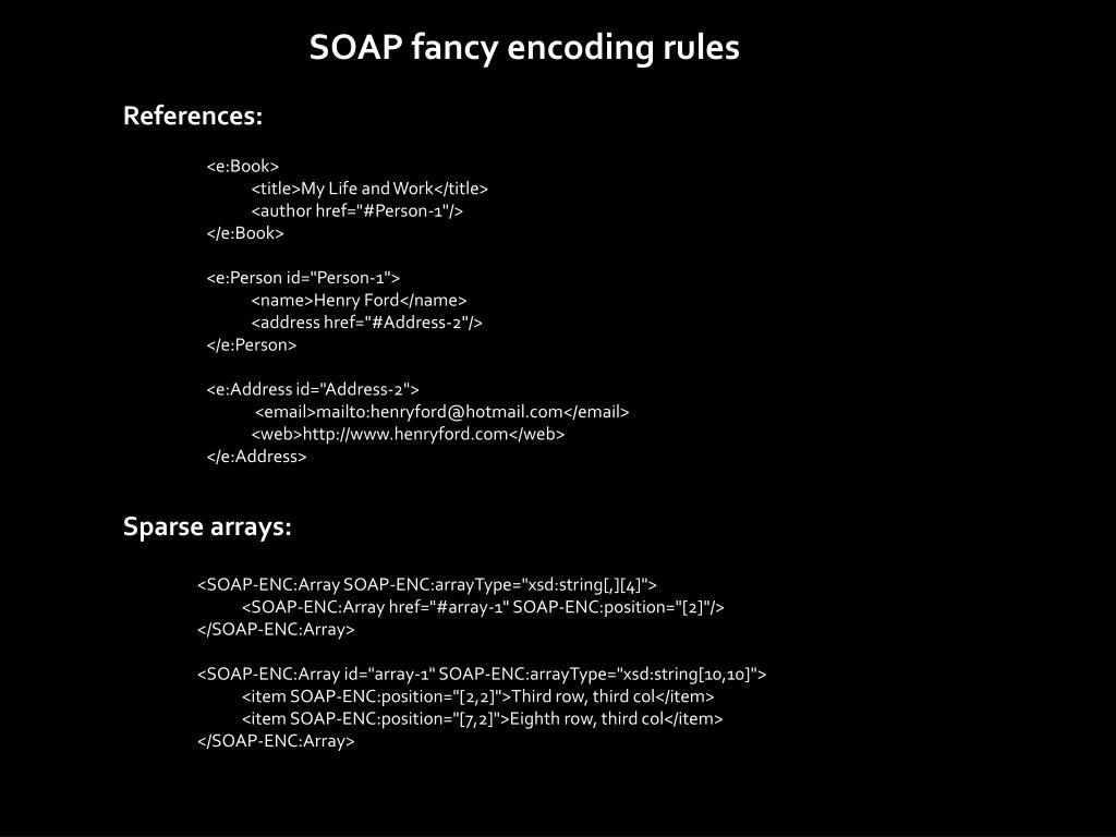 SOAP fancy encoding rules