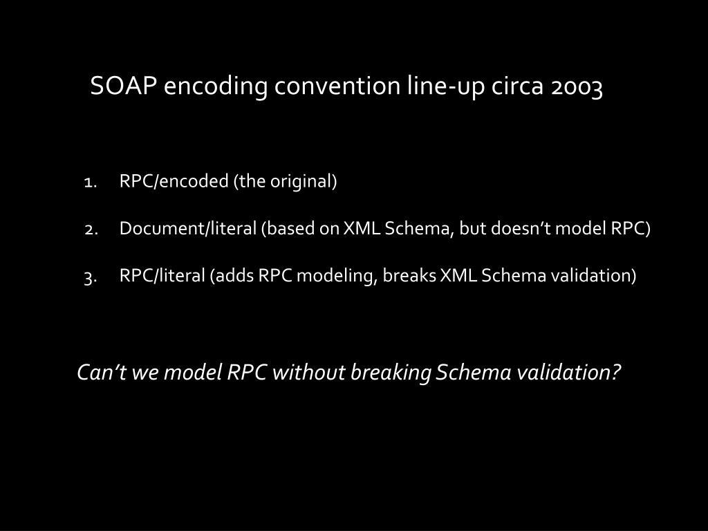 SOAP encoding convention line-up circa 2003
