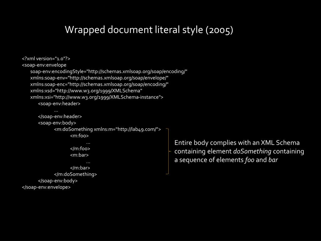 Wrapped document literal style (2005)