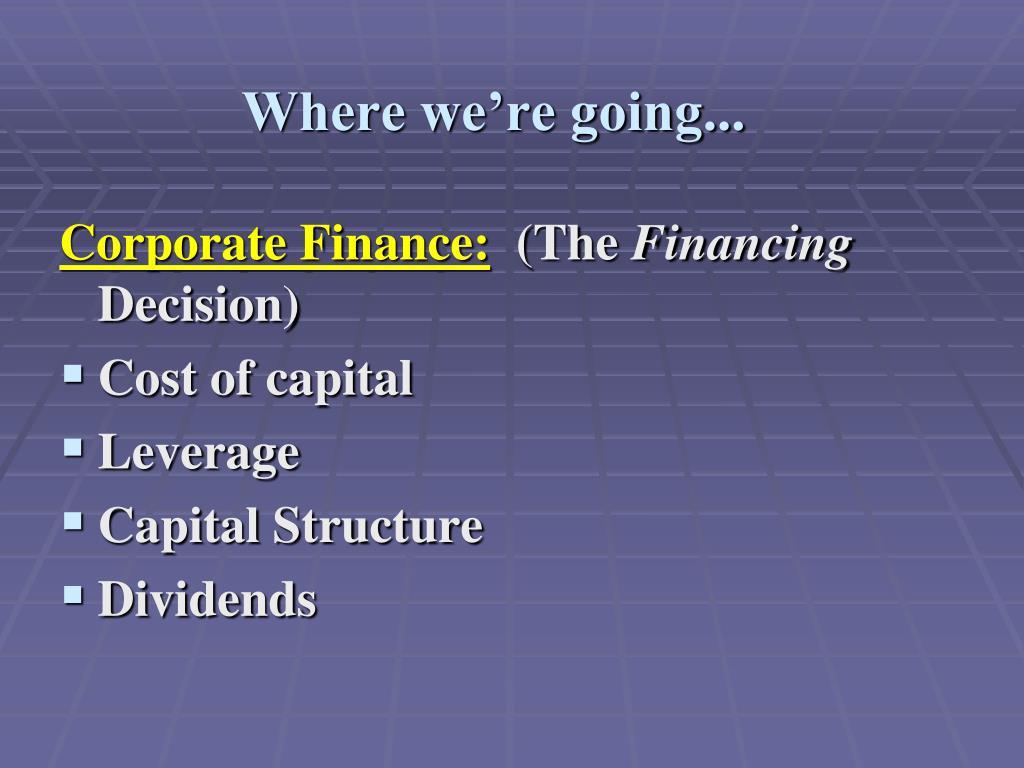 corporate finance cost of capital
