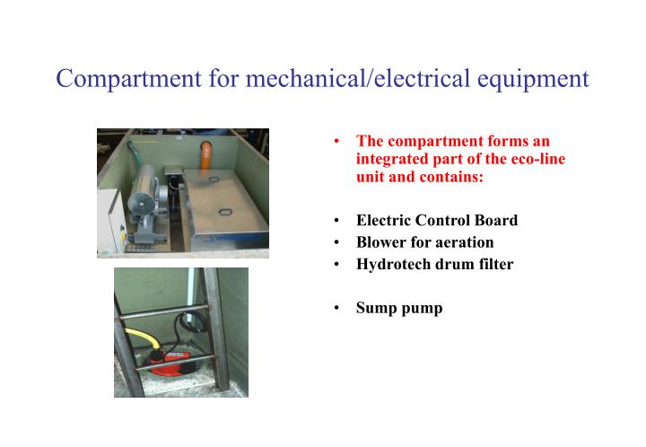 Compartment for mechanical/electrical equipment