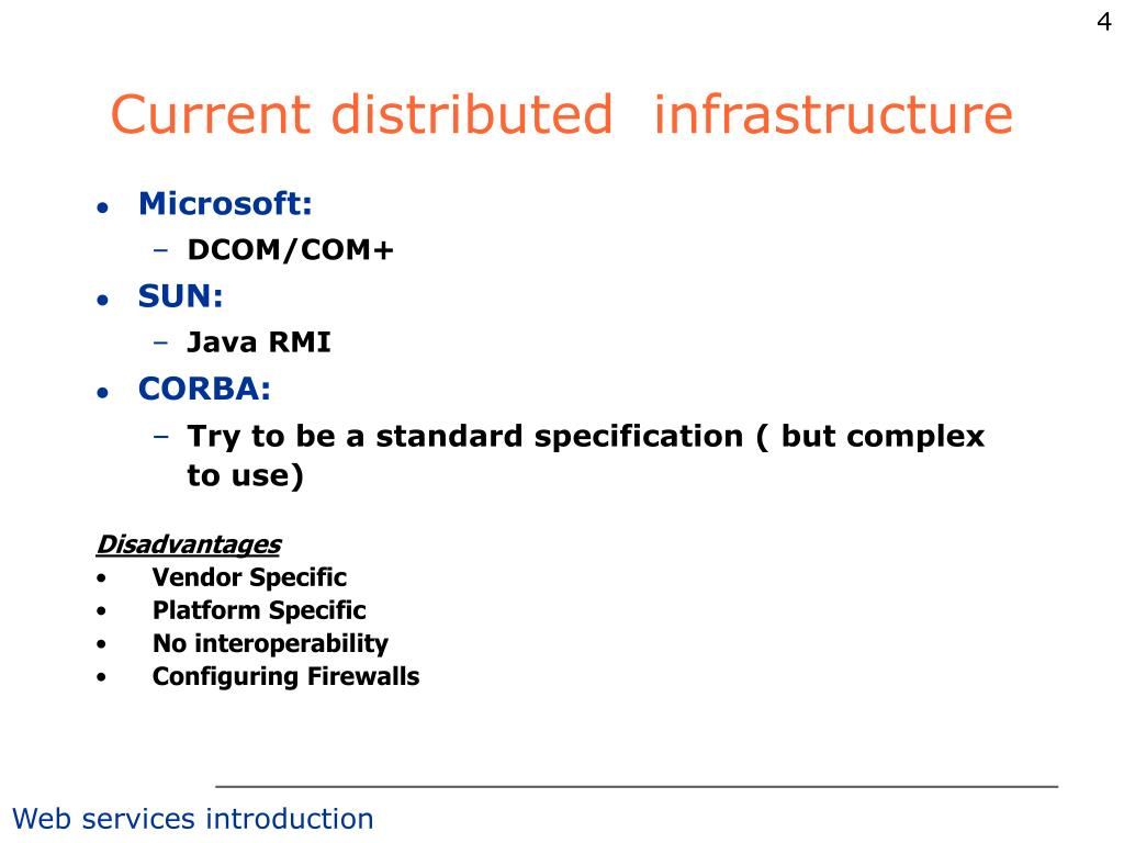 Current distributed  infrastructure