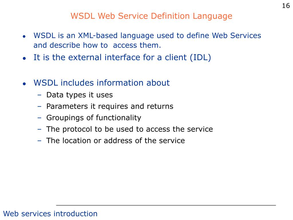 WSDL Web Service Definition Language