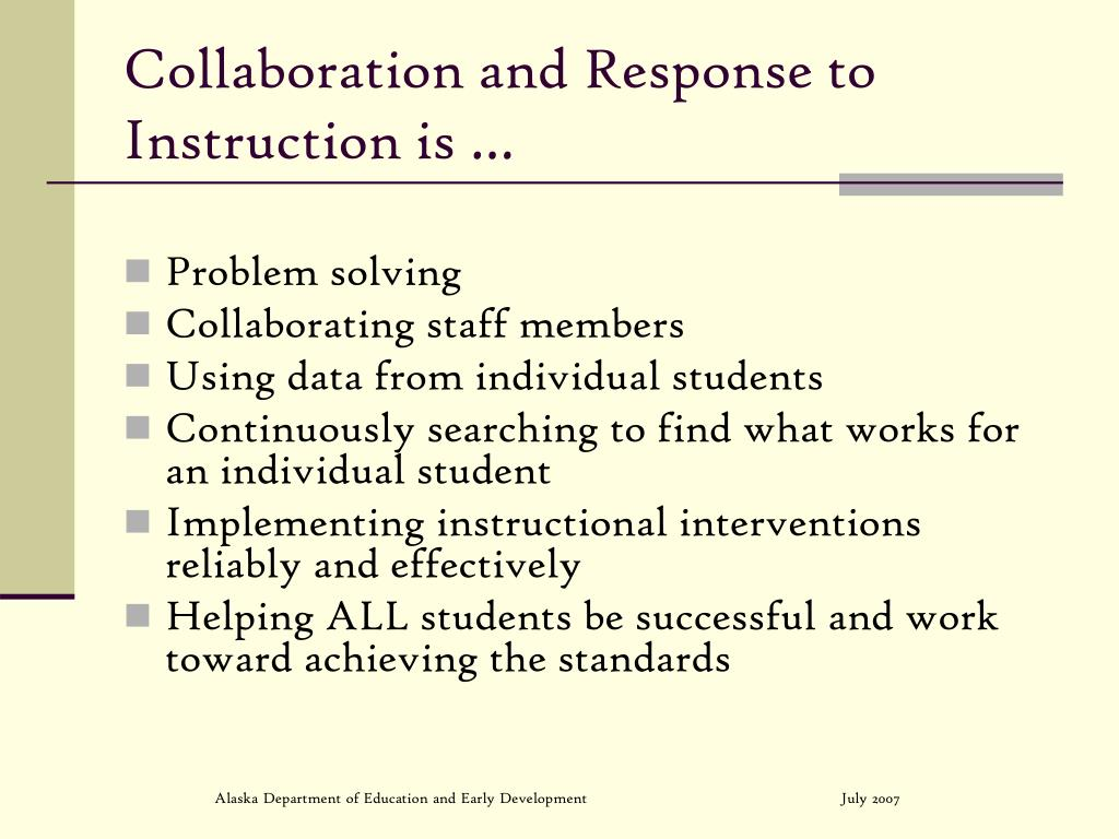 Collaboration and Response to Instruction is …