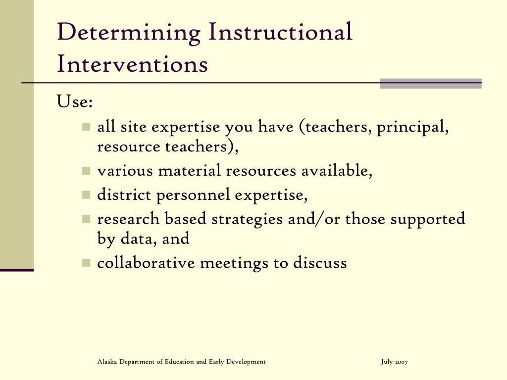 Determining Instructional Interventions