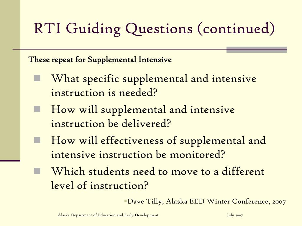 RTI Guiding Questions (continued)