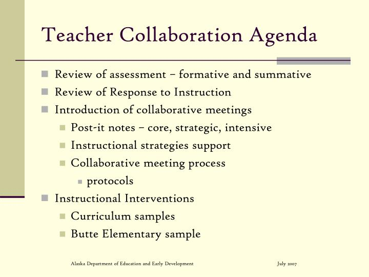 Teacher collaboration agenda