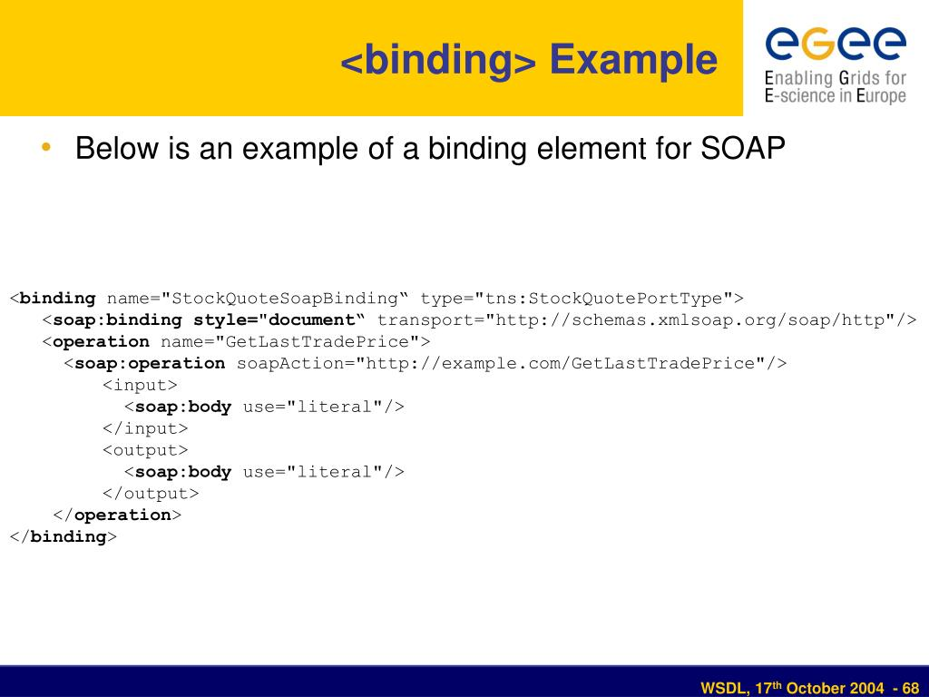 <binding> Example