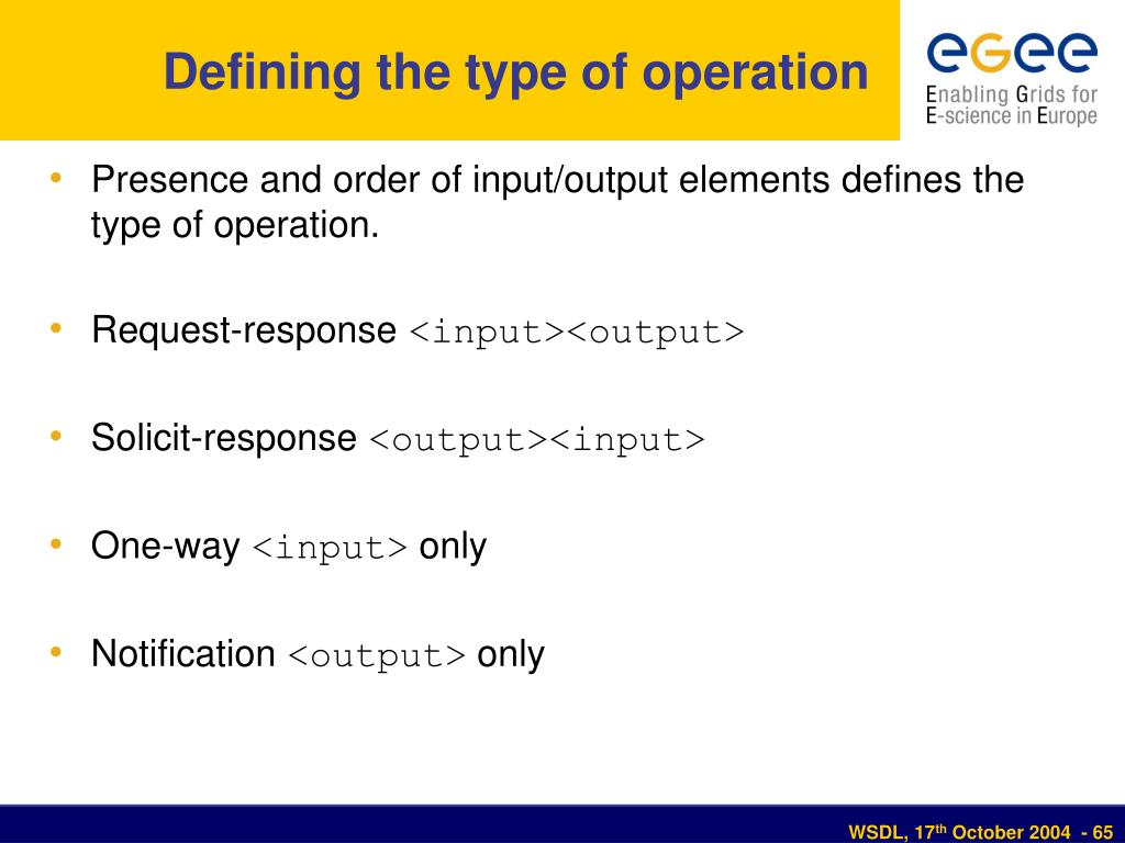 Defining the type of operation