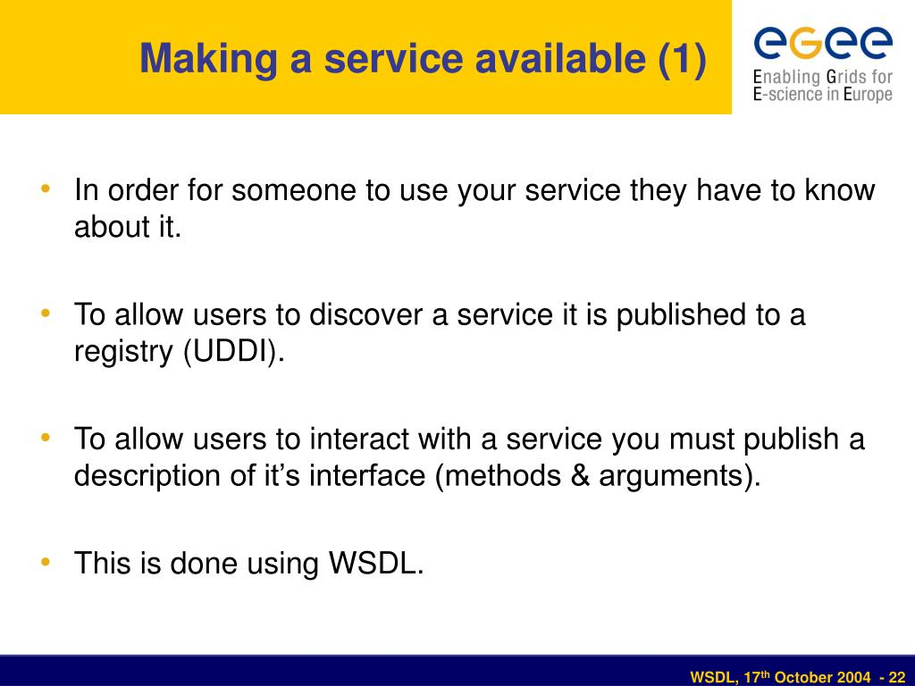 Making a service available (1)