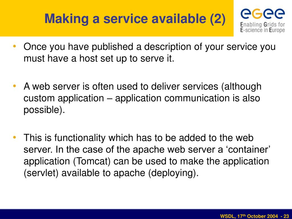 Making a service available (2)