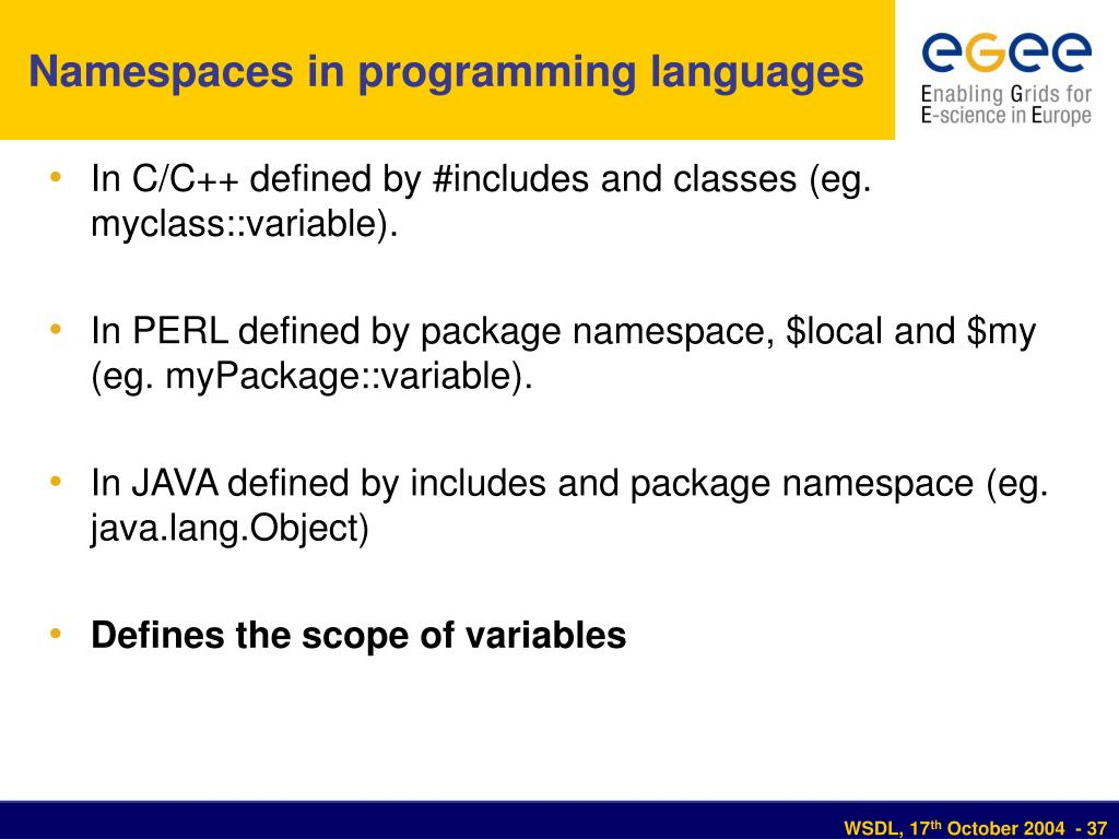 Namespaces in programming languages