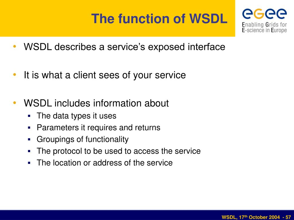 The function of WSDL