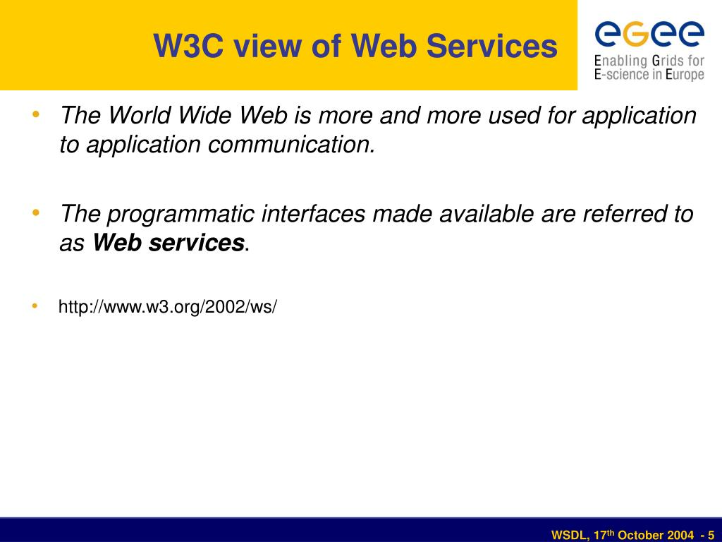 W3C view of Web Services