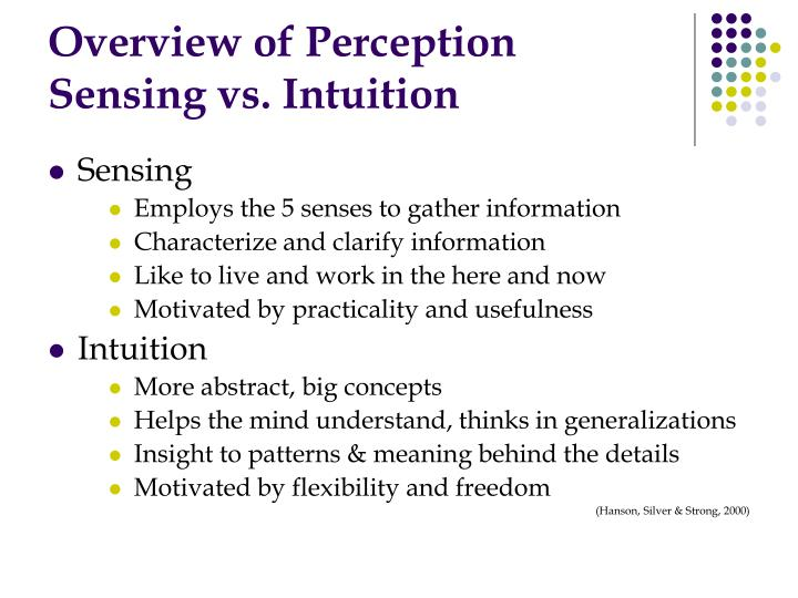 Overview of perception sensing vs intuition