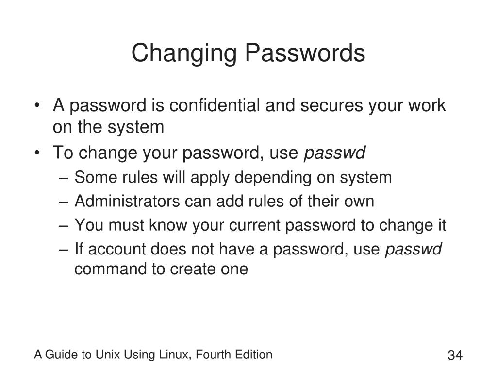 Changing Passwords