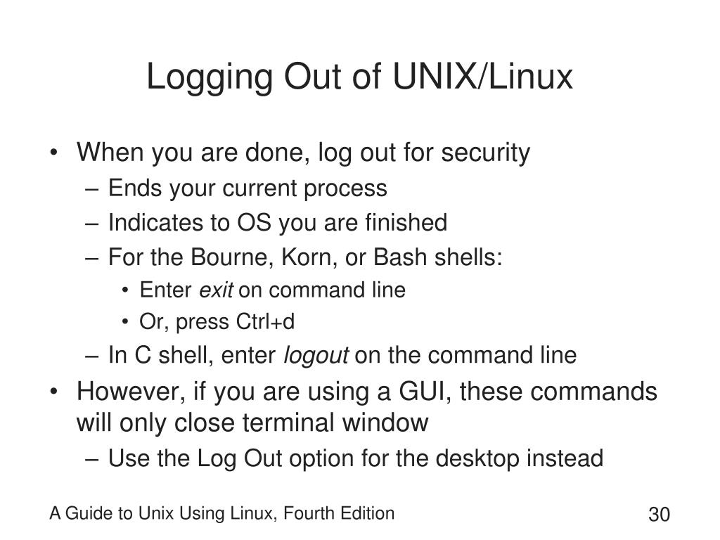 Logging Out of UNIX/Linux
