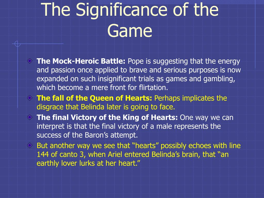 The Significance of the Game