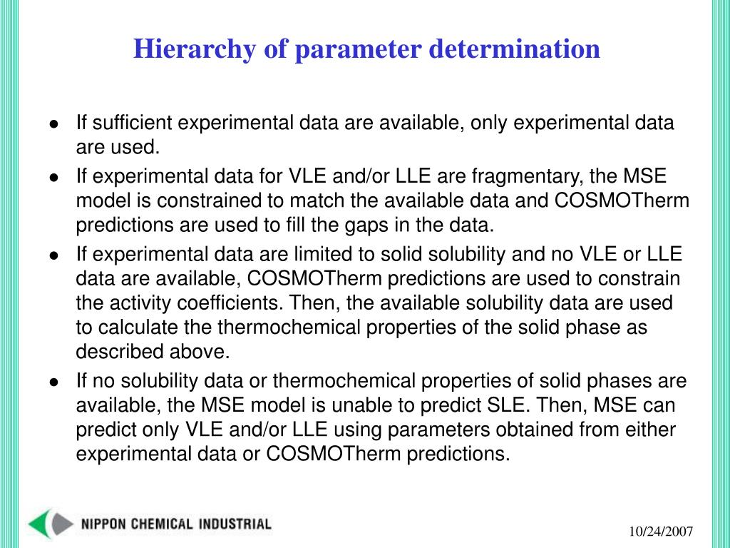 Hierarchy of parameter determination