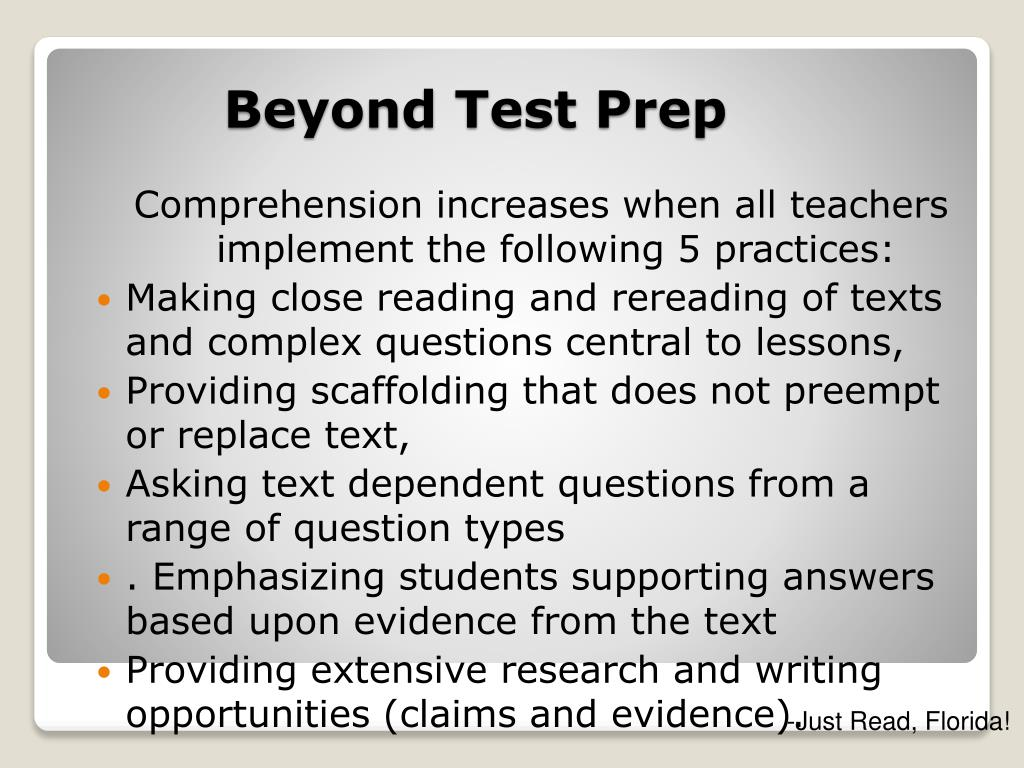 Comprehension increases when all teachers implement the following 5 practices: