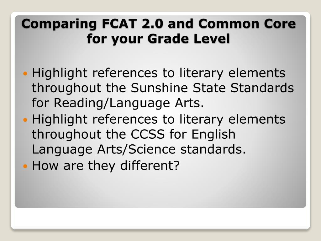 Highlight references to literary elements throughout the Sunshine State Standards for Reading/Language Arts.