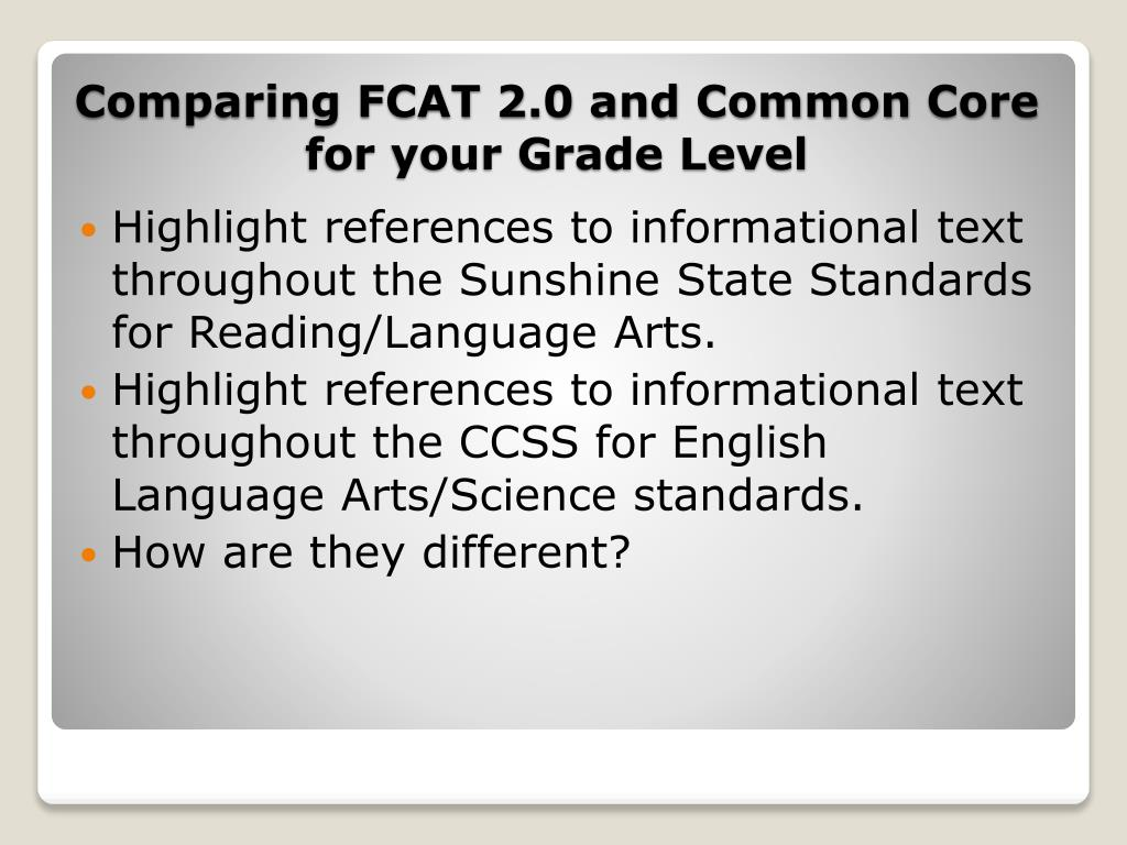 Highlight references to informational text throughout the Sunshine State Standards for Reading/Language Arts.