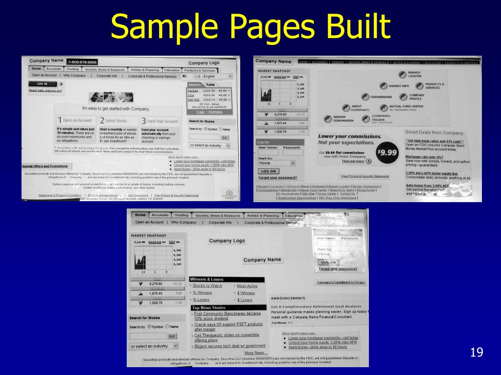 Sample Pages Built