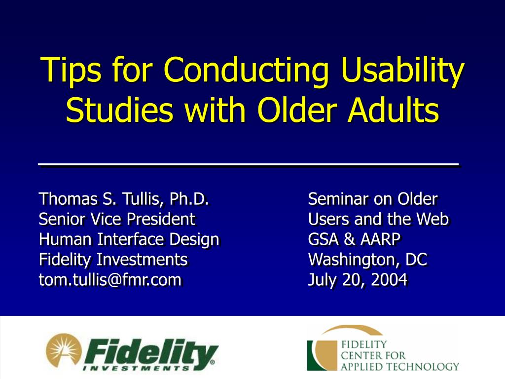 Tips for Conducting Usability Studies with Older Adults