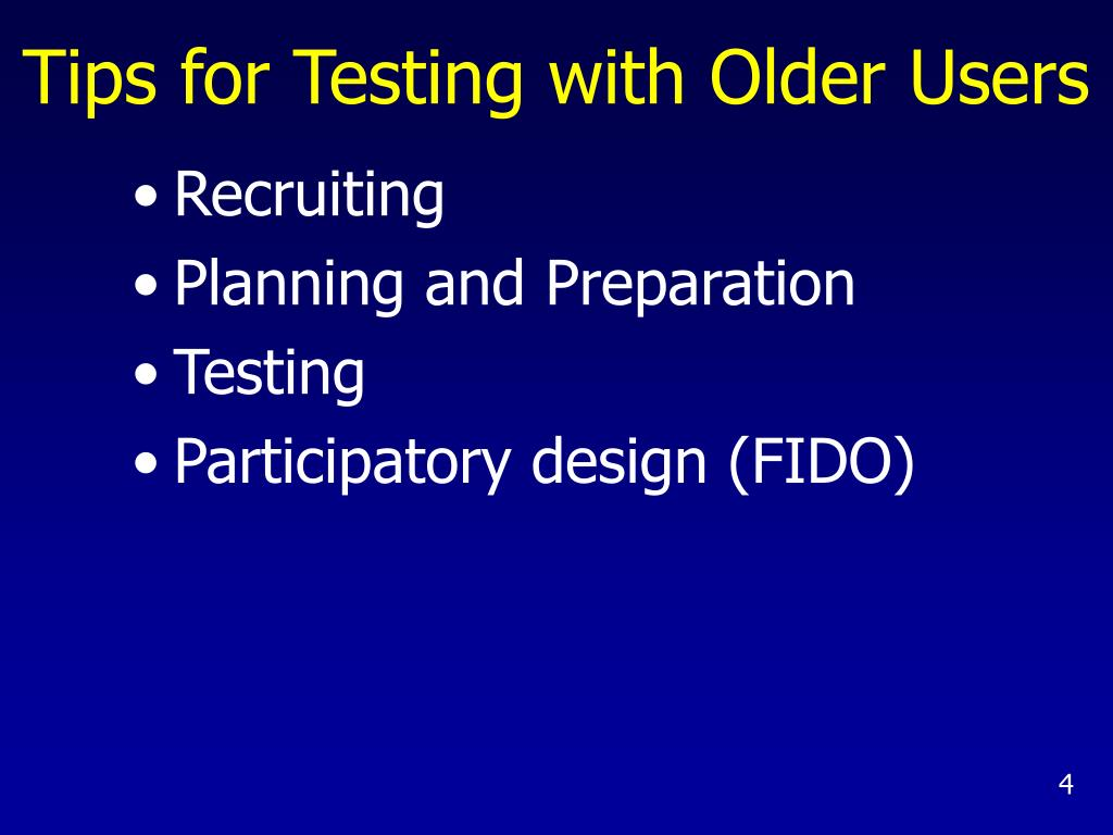 Tips for Testing with Older Users
