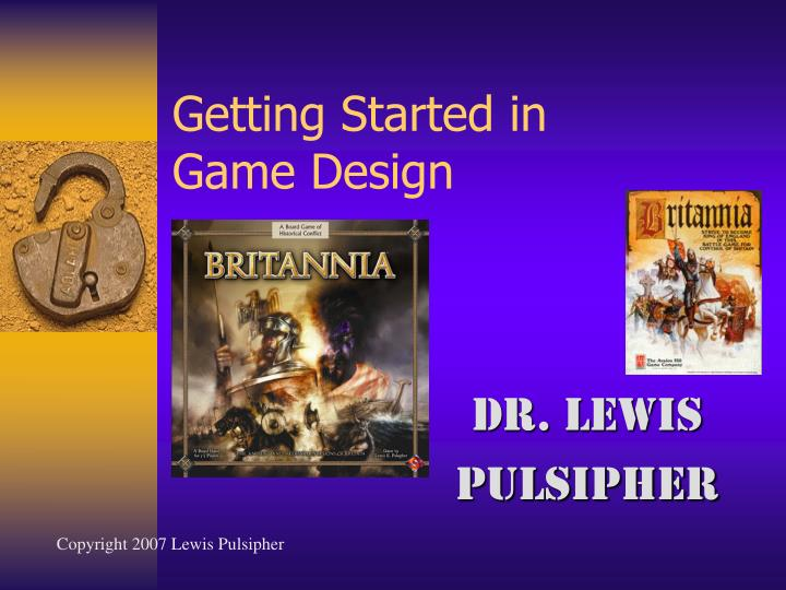 Getting started in game design