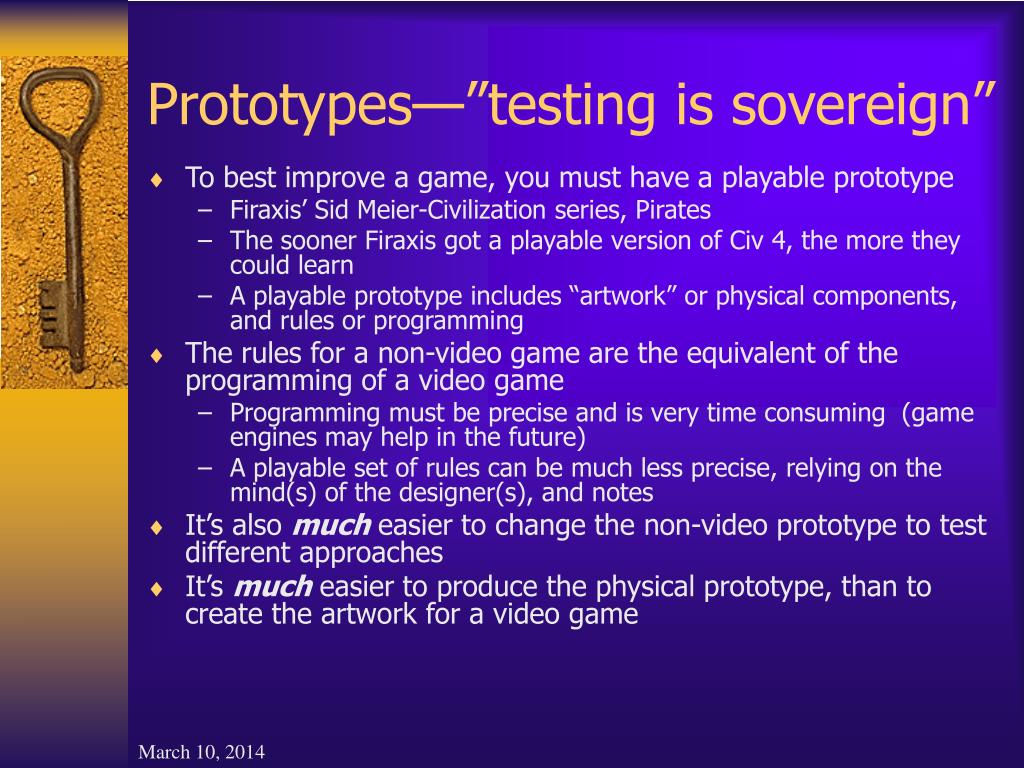 "Prototypes—""testing is sovereign"""