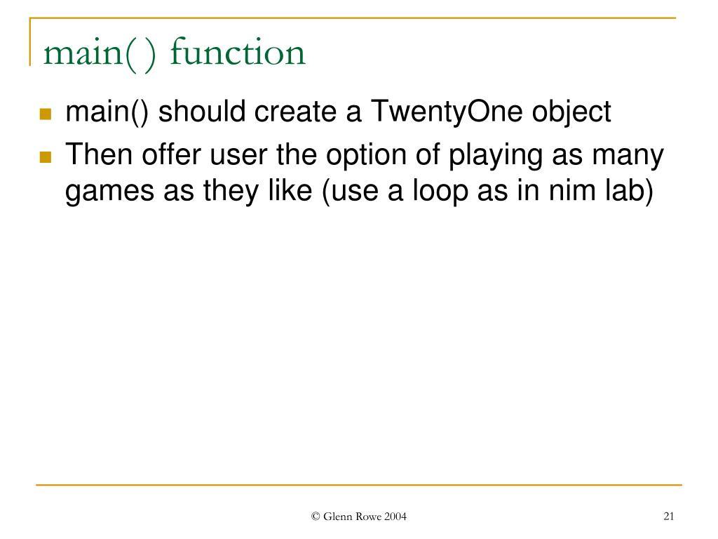 main( ) function